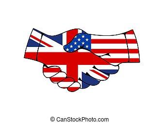 Great Britain and USA hand shake flags treaty