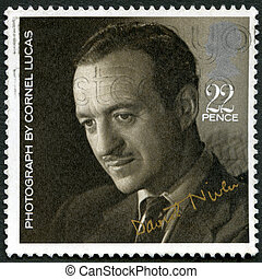 GREAT BRITAIN - CIRCA 1985: A stamp printed in Great Britain shows David Niven (1910-1983), by Cornel Lucas, series 20th Centenary Stars and Directors of Film, circa 1985