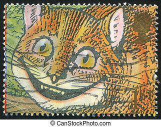Cheshire Cat - GREAT BRITAIN - CIRCA 1991: stamp printed by...
