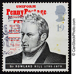 GREAT BRITAIN - CIRCA 1995: a stamp printed in the Great Britain shows Sir Rowland Hill, introduction of uniform penny postage, reformer of the postal system, circa 1995