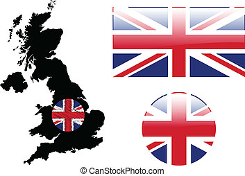 Great Britain flag and map
