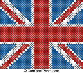 Great Britain flag background made with embroidery...