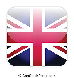 Great britain flag button isolated on white