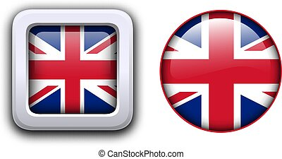 Great Britain flag buttons