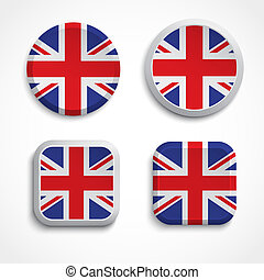 Britain flag buttons
