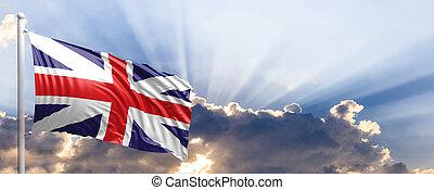 Great Britain flag on blue sky. 3d illustration