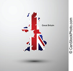 Great Britain flag on map of country