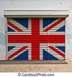 great britain, flag, på, shop, dør