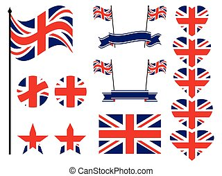 Great Britain flag set. Collection of symbols, flag in heart. Vector illustration