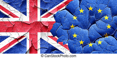 Great britain flag with european union flag on a grunge cracked