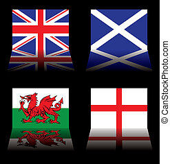 great britain flags - reflected version of the british...