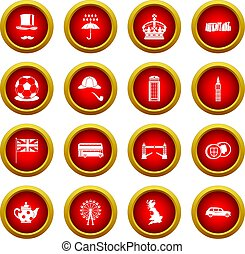 Great Britain icon red circle set