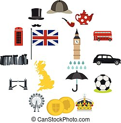 Great Britain icons set, flat style - Great Britain icons...