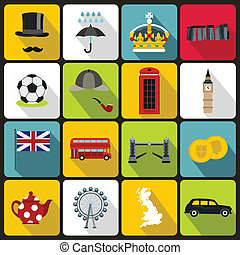Great Britain icons set, flat style
