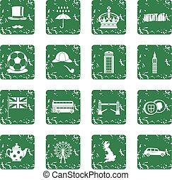 Great Britain icons set grunge