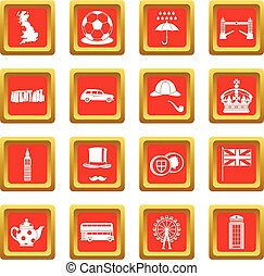 Great Britain icons set red