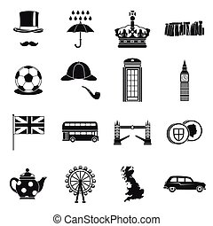Great Britain icons set , simple style - Great Britain icons...