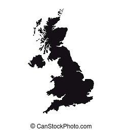 great britain map silhouette icon