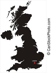 Great Britain Map - a map of great britain in black