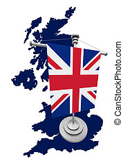 Great Britain Map with flag