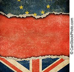 great britain, og, europæisk sammenslutning, flag, brexit, begreb