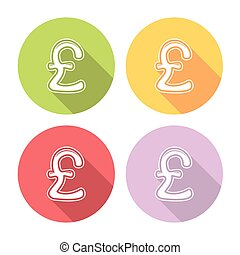 Great Britain Pound Flat Icons Set