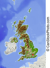 Great Britain. Shaded relief map with major urban areas. Surrounding territory greyed out. Colored according to elevation. Includes clip path for the state area.