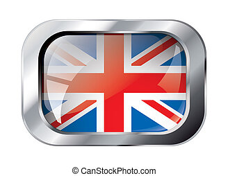 great britain shiny button flag vector illustration. Isolated abstract object against white background.