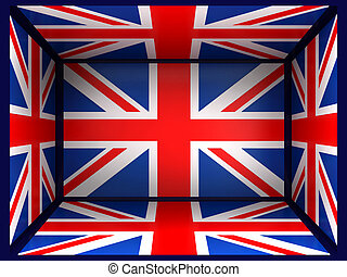 Great Britain - Background in and a flag Great Britain in 3d