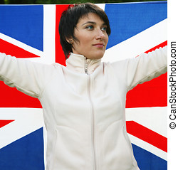 Great Britain - Young woman holding flag of Great Britain