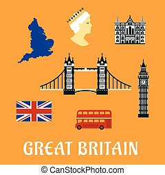 Great Britain travel flat icons