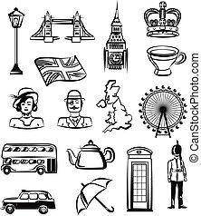 Great Britain vector outline pictogram black icon set