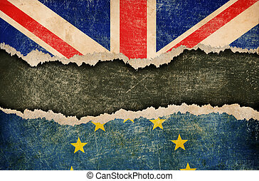 European union and Great Britain flags on cardboard pieces
