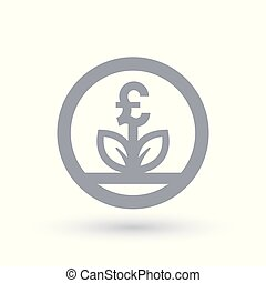 Great British Pound currency grow concept icon
