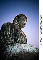 Great Buddha of Kamakura at sunset.