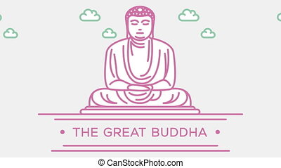 Great Buddha statue. Part of the set. Animated outlined...