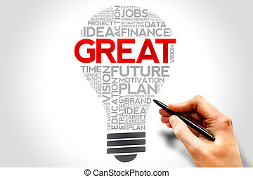 GREAT bulb word cloud, business concept