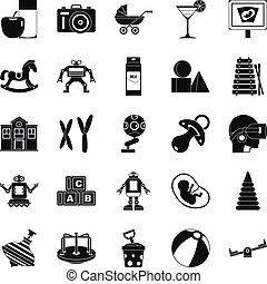 Great childhood icons set, simple style