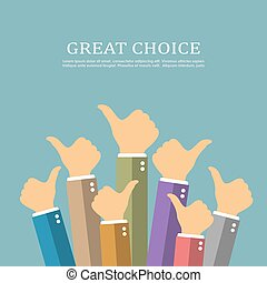 Great choice concept, thumbs up vector poster - Great choice...