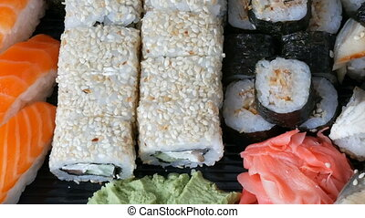 Great choice Variety of sushi roll, nigiri, maki, Gunkan...