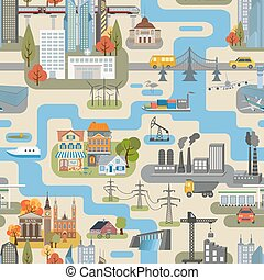 Great city map creator. Seamless pattern map. Houses, ...