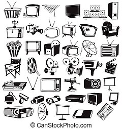 tv video and camera black icons