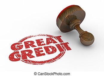 Great Credit Score Rating Borrow Money Stamp Words 3d Illustration