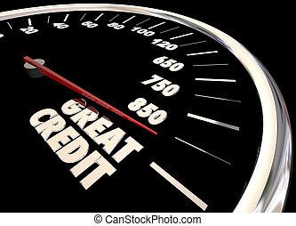 Great Credit Score Report Improve Increase Speedometer 3d...
