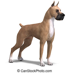 Great Dane Dog. 3D rendering with clipping path and shadow...
