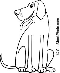 great dane dog cartoon for coloring - Black and White...