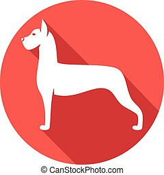great dane dog flat icon