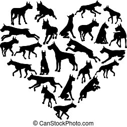 Great Dane Dog Heart Silhouette Concept - A Great Dane or...