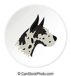 Great dane dog icon, flat style