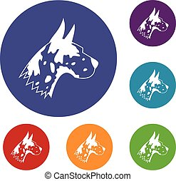 Great dane dog icons set